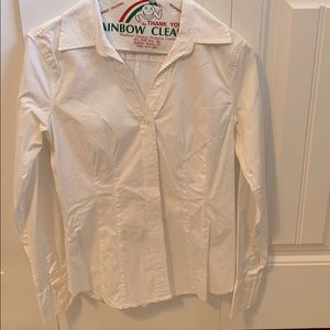 GAP white v neck button down shirt